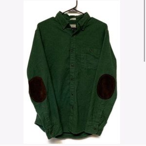 J. Crew Suede Elbow Patch Green Flannel Shirt Med